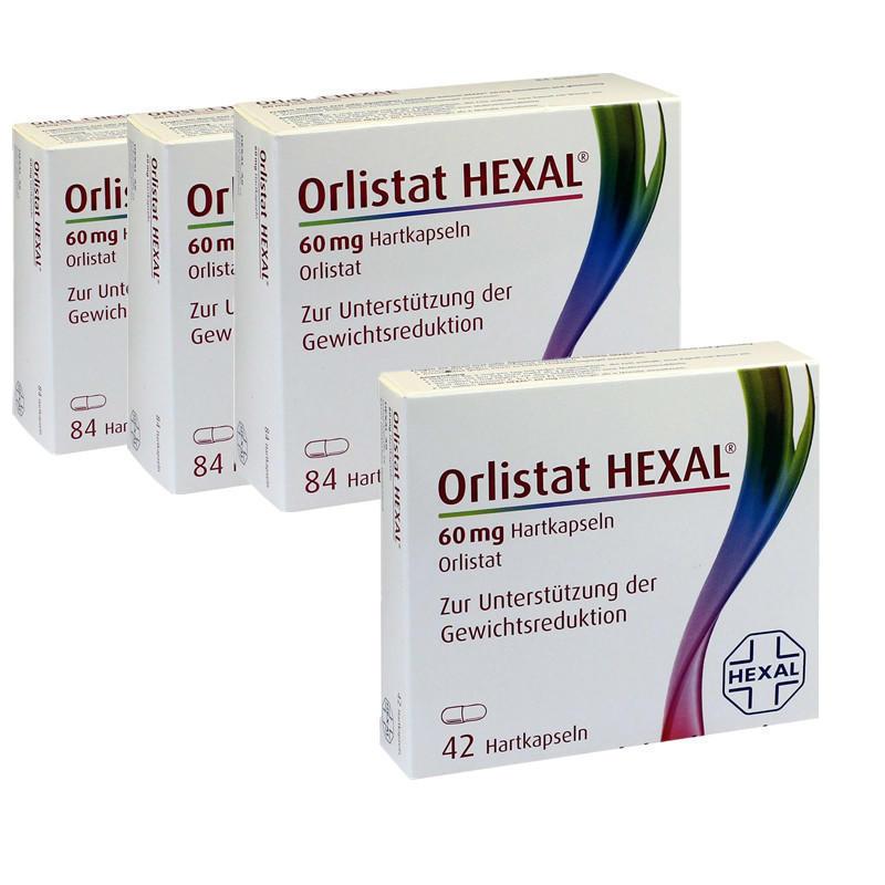 【买三赠一】Hexal Orlistat 奥利司他 控油瘦身硬胶囊 84粒3+Hexal Orlistat 60mg 奥利司他消脂减肥胶囊 42