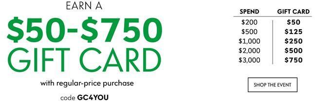 升级!Neiman Marcus尼曼官网网一全场商品最高满送$750礼卡