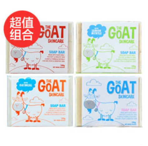 【超值组合】The Goat Skincare 手工山羊奶皂 100gX4(原味、柠檬味、麦卢卡蜂蜜味、燕麦味)