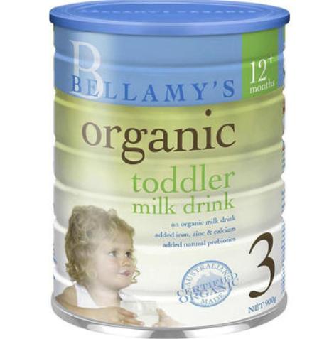 【澳洲PO药房】【爸爸去哪儿嗯哼同款】Bellamy&#039s 贝拉米 有机婴幼儿配方奶粉 (3段) 1岁+ 900g