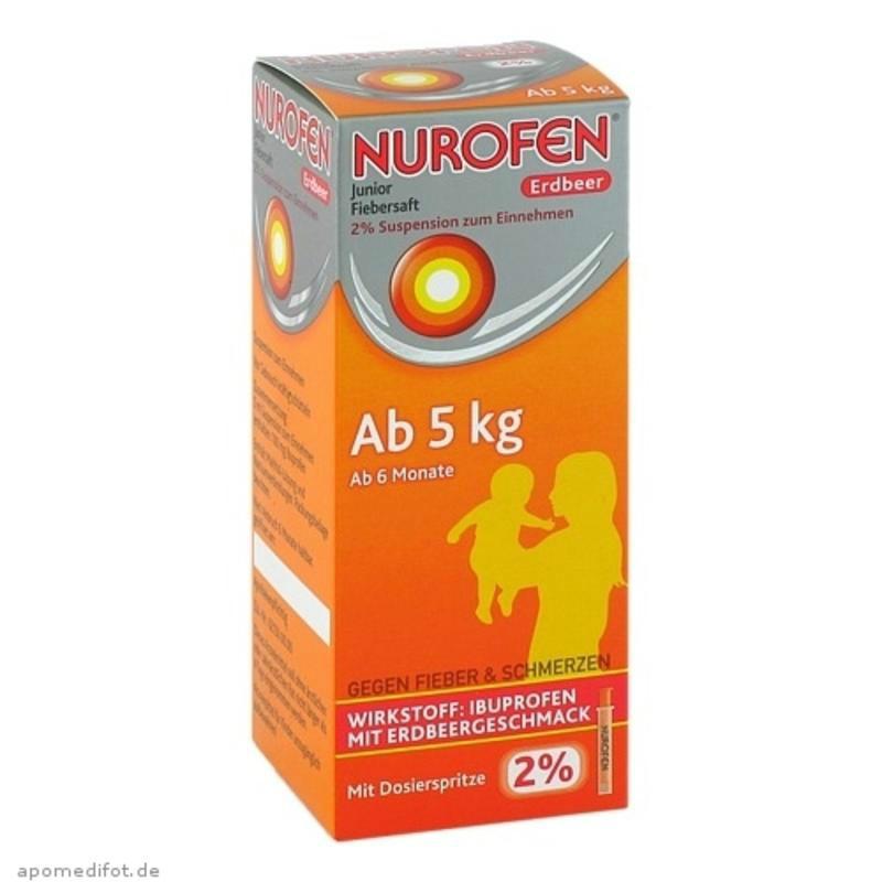 【德国BA】Nurofen 2%布洛芬 婴幼儿退烧口服液 草莓味 6个月-9岁(5kg+) 100ml