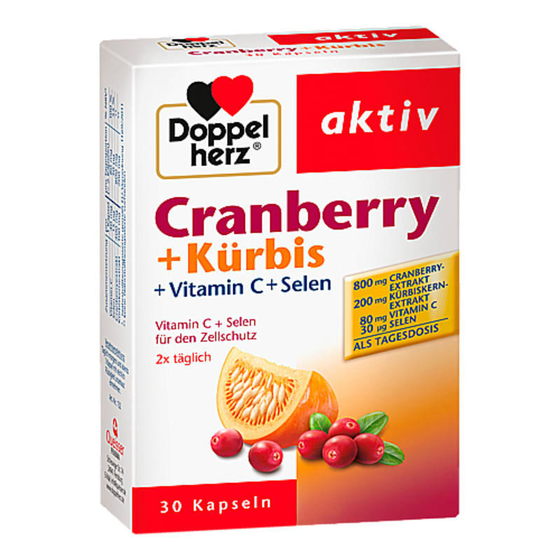 【德国BA】Doppelherz 双心 蔓越莓南瓜籽+维生素C/硒胶囊 30粒 备孕提高精子活力