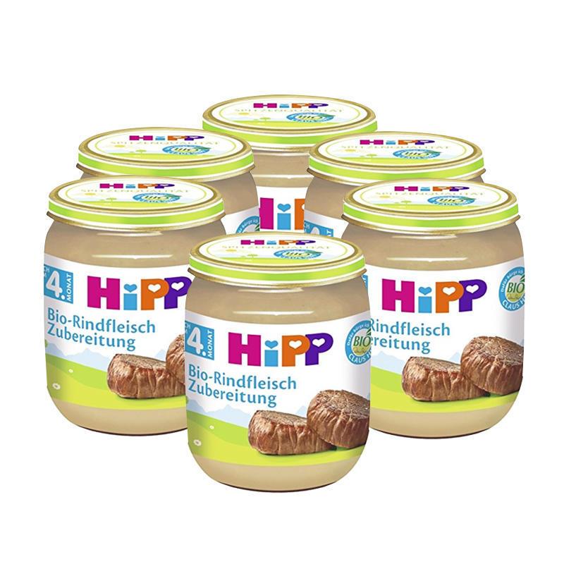 【6瓶装】HiPP 喜宝 宝宝佐餐有机纯牛肉泥 125g6瓶 4个月+