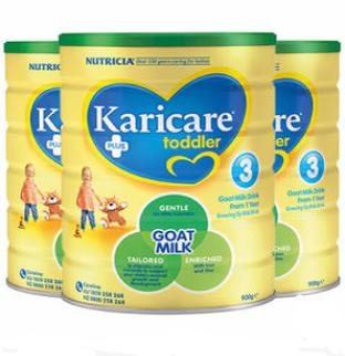 【3罐包邮装】Karicare 可瑞康 婴幼儿配方羊奶粉3段(1岁及以上)900g3 澳洲/新西兰随机发货