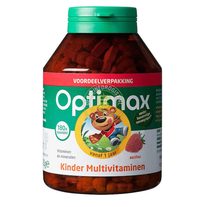 【荷兰DOD】Optimax 宝宝复合维生素矿物质咀嚼片 180片(草莓味)