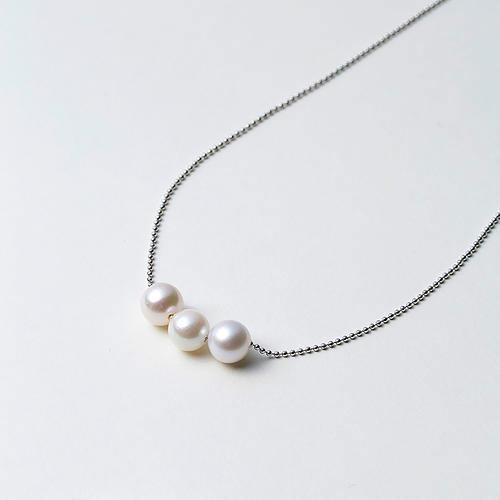 【松屋百货】Maria 7mm阿古屋海水珍珠s925银项链 三颗珠