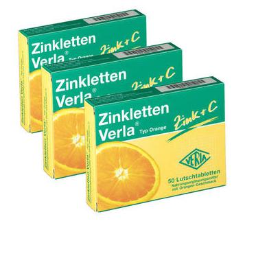 【DC德国药房】【3件装】Zinkletten Verla 补锌含片 橙子味 50粒X3