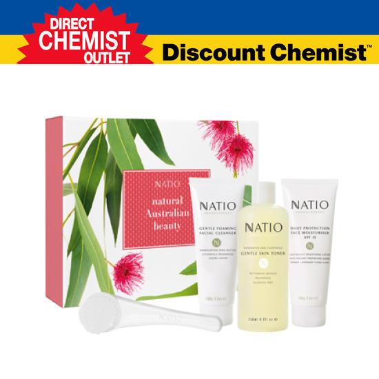 【惊爆特价 + 包邮】Natio美白护肤五件套, 洗面奶、玫瑰水、保湿乳,洁面刷,礼包