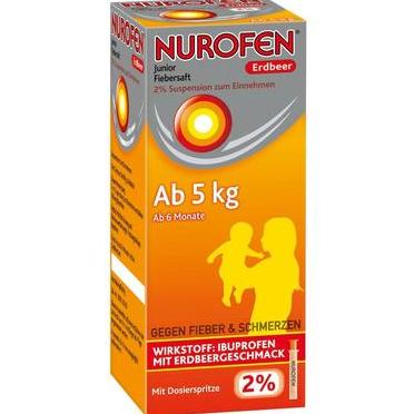 【DC德国药房】 Nurofen 婴幼儿解热果味糖浆 100ml 草莓味 6个月+(5kg以上)宝宝适用