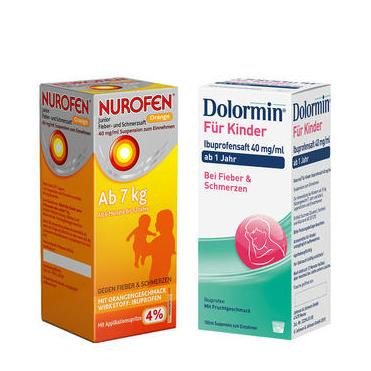 【婴幼儿退烧口服液特惠装】Nurofen 4% 布洛芬 橙味 6个月-12岁(7kg+) 100ml+Dolormin 布洛芬 100ml 1岁以