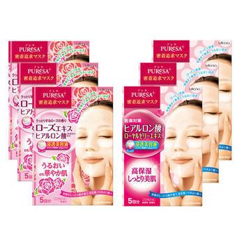 【多庆屋】佑天兰utena面膜(含玫瑰精华款3盒+透明质酸款3盒)