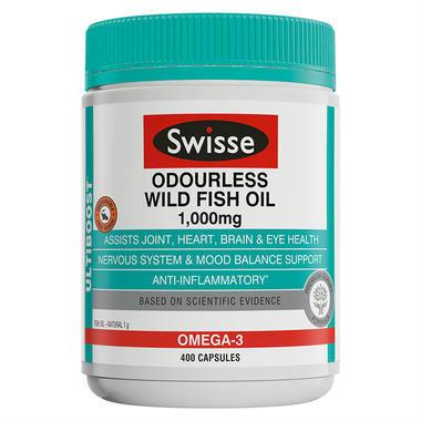 【澳洲PO药房】Swisse 野生深海鱼油胶囊 400粒(无腥味)