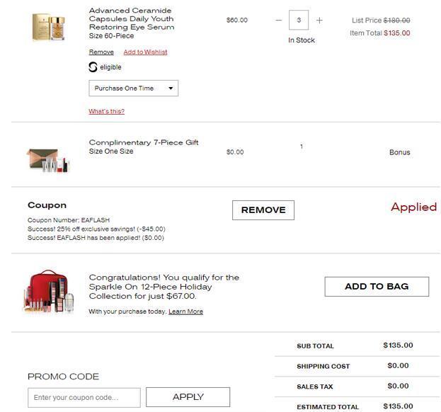 Elizabeth Arden雅頓官網優惠碼2019, 網購護膚美妝品滿$125額外75折+送7件套禮包促銷