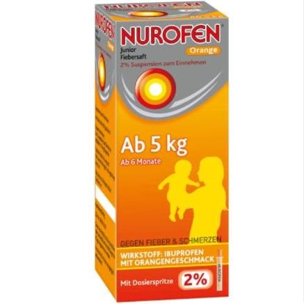 【DC德国药房】Nurofen 2%布洛芬 婴幼儿/儿童解热退烧口服液 橙味 6个月-9岁(5kg+)100ml