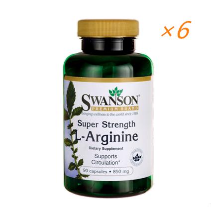【美国Swanson】swanson 850mg强效L-精氨酸男性健康勃起胶囊(改善性功能)90粒(六件装)