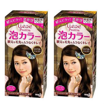 【多庆屋】花王Prettia泡沫染发膏典雅巧克力色(2套)