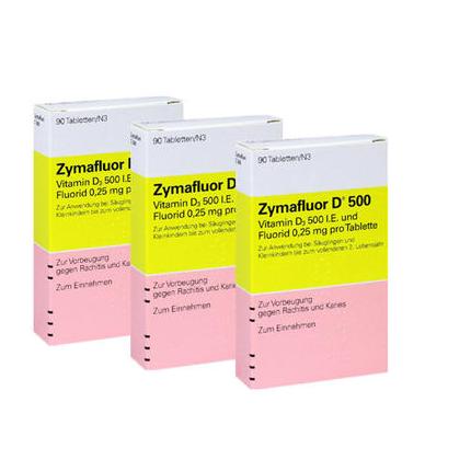 【3件装】Zymafluor 婴幼儿维生素D3片 90片X3 预防佝偻