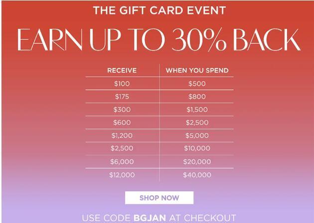 Bergdorf Goodman購時尚正價商品最高送$12000禮品卡
