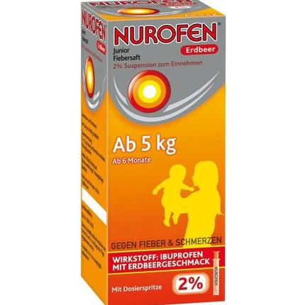 【DC德国药房】Nurofen 婴幼儿解热果味糖浆 100ml 草莓味 6个月+(5kg以上)宝宝适用